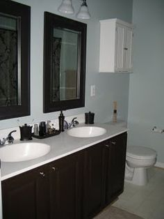 behr ultra paintprimer in one i went with espresso beans paint bathroom