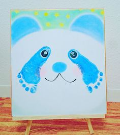 Panda bear handprint art! Great for new baby, up to toddler/preschool age. Fun daycare craft!