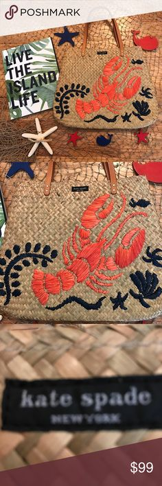 "NWOT Kate Spade Cape Cod Bag Vacation or Beach Anyone! NWOT Kate Spade Reyna Cape Cod Bag! Lobster on front with sea shell motif. Inside has 1 zip pocket lined in navy blue & white. Gold tone hardware. Approx 10-11 "" length not including straps. Width approx 13"". Love it paired with a maxi dress & straw hat ! NO TRADES. kate spade Bags"