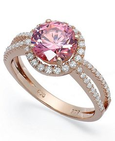 Pretty in pink. Round-cut pink and clear cubic zirconias with Swarovski Elements make an ultra-feminine statement on this 14k rose gold over sterling silver ring. Size 7. | Photo may have been enlarge