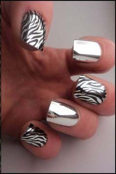 Silver metallic nails with zebra stripes