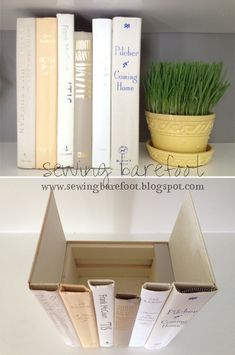 Hidden Storage: Glue old book spines to a box for hidden storage. Leave the front cover on one of the books and the back cover on another to use as the sides of your box. This would be perfect for spare remotes, cables, router, or anything else you wish to keep out of site but accessible. #diy #upcycle #hack