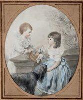 'Portrait de deux enfants avec leur chien', by Firmin Massot, Switzerland, 1806.