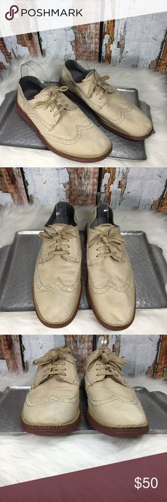 Cole Haan Tan Original Grand Wingtip Oxfords Cole Haan Original Grand Wingtip oxfords in milkshake/brick combo. Great condition, mild discolorations on toe and inside of right shoe although they blend in with the canvas. Very mild wear on soles.  Size 9.5M  Canvas with rubber sole Cole Haan Shoes Oxfords & Derbys