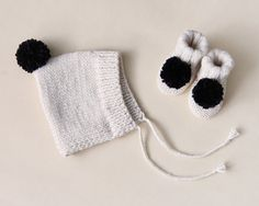 hand knitted pixie hat and baby booties ensemble / by nanoutriko