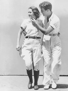 Barbara Stanwyck and Robert Taylor on the set of His Brother's Wife,1936