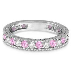 Diamond & Pink Sapphire Wedding Band 14k White Gold 1.08ct - Allurez
