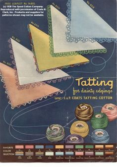 Tatting for Dainty Edgings Coats & Clark Leaflet 1488L