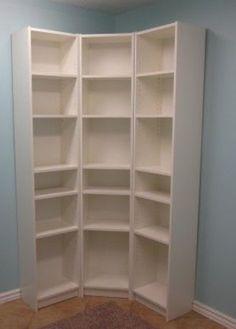 Love the corner shelf! Great storage space!