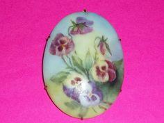 Vintage Limoges Pin Brooch Pansies Flowers China Hand Painted Beautiful Feminine
