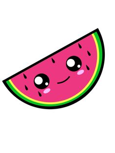 Kawaii Watermelon. Vector Illustration.  ©Allezleon.com