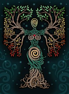 ideas tattoo tree of life albero della vita for 2019 Pagan Art, Goddess Art, Earth Goddess, The Goddess, Illustration, Celtic Art, Book Of Shadows, Tree Art, Oeuvre D'art