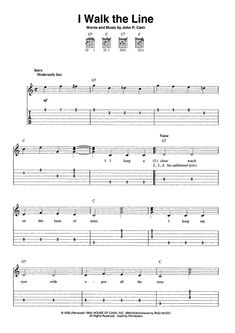 Digital Sheet Music for I Walk The Line by , Johnny Cash scored for Easy Guitar Tab/Vocal; Guitar Tabs Acoustic, Guitar Tabs And Chords, Guitar Tabs Songs, Easy Guitar Tabs, Guitar Chords Beginner, Music Tabs, Guitar Sheet Music, Music Sheets, Mandolin Songs