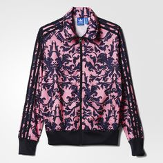 This take on the timeless Firebird makes a rich, feminine statement. This women's track jacket is covered in an intricate print inspired by baroque jacquard patterns seen recently on catwalks. Made in shiny tricot with a rubberized Trefoil graphic across the back.