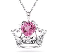 ApplesofGold.com - Crown Heart Pink Topaz and Diamond Pendant