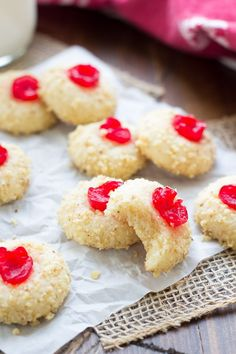 These Cherry Cream Cheese Cookies are one of my family& favorite Christmas cookies! We& been making these festive, melt-in-your mouth cookies for as long as I can remember. Cookie Desserts, Just Desserts, Dessert Recipes, Cookie Table, Awesome Desserts, Cookie Cups, Dinner Recipes, Best Cookie Recipes, Baking Recipes
