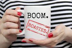 Boom roasted The Office tv show inspired mug. Michael Scott mug. The office tv show gift. The office fans. Funny office mug. Office Fan, Office Tv Show, Boom Roasted The Office, Handmade Design, Handmade Items, The Office Mugs, Michael Scott, Funny Mugs, Mug Designs