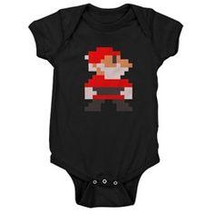 santa bros. dark baby bodysuit/onesie > $18.49US > babybitbyte (cafepress.com/babybitbyte) #nerd #geek #babybitbyte #cafepress #8bit #pixelart #pixel #pxl #nes #famicom #mario #mariobros #christmas #xmas #santa #santaclaus #hohoho #gamer #gamermom #gamerdad #retrogamer