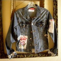Denim Jacket Upcycled Altered Clothes Vintage Barkcloth Crochet Trim Handsewn Size Small  $18.00