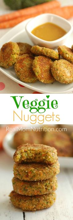 Veggie Nuggets made with carrots and broccoli. Would be good with chickpeas and buffalo sauce instead of so much breadcrumbs.