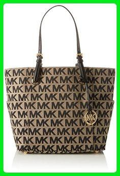 cce3eff82fc MICHAEL Michael Kors E/W Signature Tote Bag,Black/Beige/Black,One size -  Top handle bags (*Amazon Partner-Link)