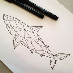Image result for watercolor geometric shark tattoo