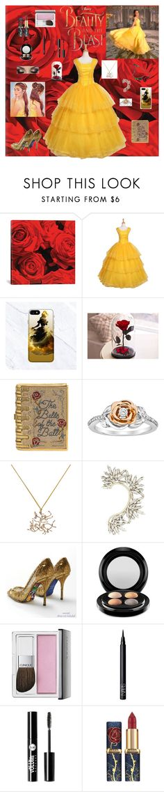 """""""Beautiful Belle 2017"""" by stripes21 ❤ liked on Polyvore featuring iCanvas, Emma Watson, Disney, Judith Leiber, BCBGMAXAZRIA, MAC Cosmetics, Clinique, NARS Cosmetics, Charlotte Russe and Atelier Swarovski"""