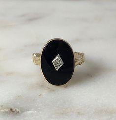 1940's Onyx & Rhinestone UNCAS Ring