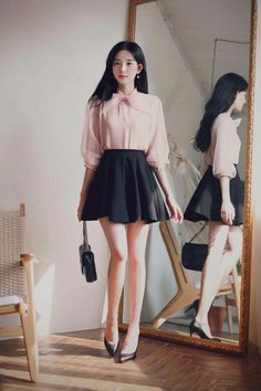 43 Trendy but Feminine Spring Women Outfits Ideas - Spring Outfits Asian Fashion, Girl Fashion, Fashion Outfits, Fashion Clothes, Girly Outfits, Classy Outfits, Korean Outfits, Korean Dress, Spring Outfits