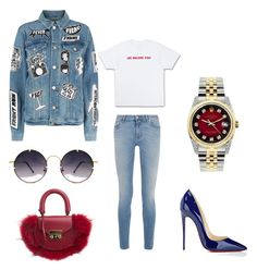 """""""Red meets jeans"""" by cegreveling ❤ liked on Polyvore featuring Christian Louboutin, Givenchy, Frame, Spitfire, SALAR and Rolex"""