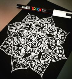 Trying out a new mandala style....... White posca paint pen on black card ..... Just a wee quickie  #mandala #mandalaart #arttherapy #doodles