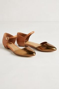bronze and leather flats