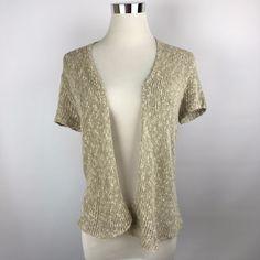 Eileen Fisher PP Cardigan Short Sleeves Open Front Linen Blend Career Beige  #EileenFisher #Cardigan #Work