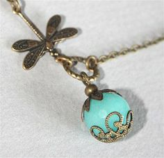 Blue Jade and Dragonfly Necklace by smilesophie