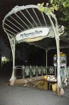 Hector Guimard designed Paris subway station (1900).