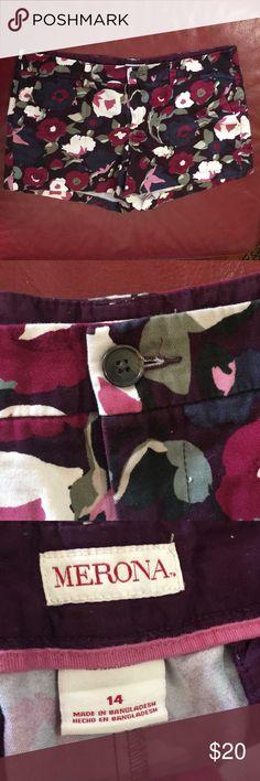 Merona Floral Shorts Size 14 Merona Floral Shorts Size 14 Gently used. No fading. Merona Shorts