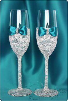 """Купить Свадебные бокалы """"Париж-люкс"""" в бирюзовом цвете - бирюзовый, свадебные бокалы"""