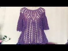 Crochet Skirts, Crochet Cardigan, Crochet Clothes, Beach Crochet, Knit Crochet, Blouse Tutorial, Beautiful Blouses, Crochet Videos, Knitting Designs