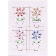 Flowerpots | Flowers patterns at Stitching Cards.