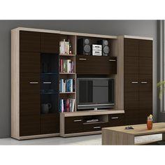 Mohutná obývačka zhotovená v modernom dizajne vo farbe dub sonoma/dub magia