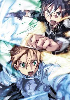 SAO trio by RikuSempai on DeviantArt Sao Anime, Anime Manga, Manga Girl, Online Anime, Online Art, Kirito Sao, K Project Anime, Sword Art Online Wallpaper, Naruto