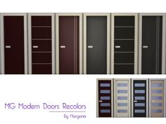 MG Modern Doors dark recolors + glass doors recolors  Found in TSR Category 'Sims 4 Downloads'