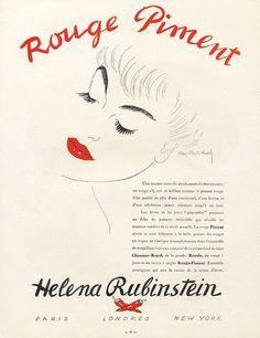 HELENA RUBINSTEIN 1940s | Rouge | #vintage #beauty #advertising