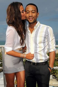 Chrissy Teigen & John Legend, a fabulous celebrity couple. She's funny and gorgeous(obviously)- and together they are SO cute!
