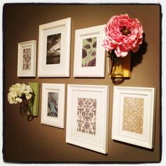 wall vases and white frames. cute for guest room.