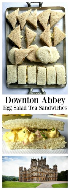 Abbey Egg Salad Tea Sandwiches Downton Abbey at Highclere Castle, with Lady Carnavon, and a delightful Egg Salad Tea Sandwiches recipe!Downton Abbey at Highclere Castle, with Lady Carnavon, and a delightful Egg Salad Tea Sandwiches recipe! Sandwich Bar, Salad Sandwich, Tea Recipes, Cooking Recipes, Tea Party Sandwiches Recipes, Brunch Recipes, High Tea Food, Pause Café, Finger Sandwiches