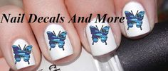 50 pc of blue camo butterfly water slide nail by NailDecalsAndMore, $3.00 use the coupon code RENEEVEGA and YOU will save 10%