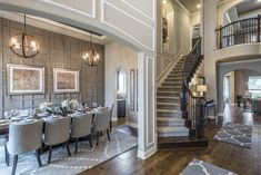 Imagine hosting guests in your #beautiful new #home with a breathtaking #formal #diningroom and grand #staircase. #tablescape #diningchairs