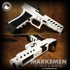 Custom Glock.  the Storm Trooper colors makes me wonder... would I actually hit anything? Custom Glock, Custom Guns, Weapons Guns, Guns And Ammo, Glock Guns, Arma 3, Military Guns, Rifles, White Glock