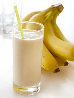 "Peanut-Butter-Banana Smoothie: ""Ingredients: 1 ripe banana, 1 cup low-fat (or soy!) milk, 1/4 cup all-natural peanut butter, 2 tablespoons honey, 1/2 cup ice. Directions: Combine all ingredients in a blender, and blend until smooth!"""